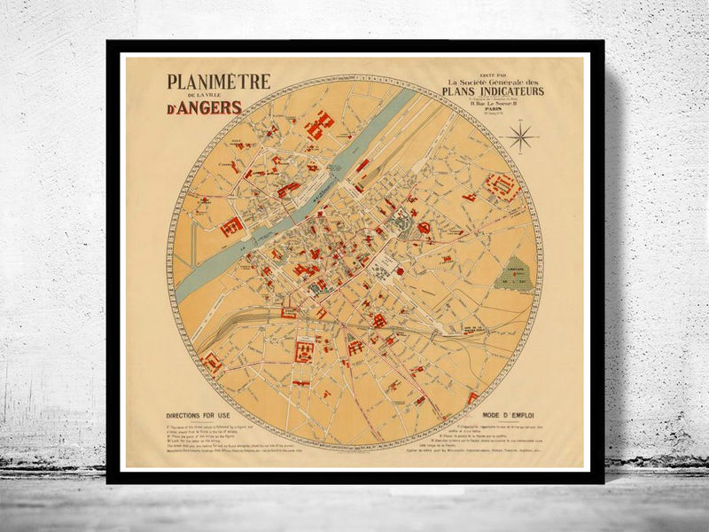 Old Map of Angers 1931 France  - product image