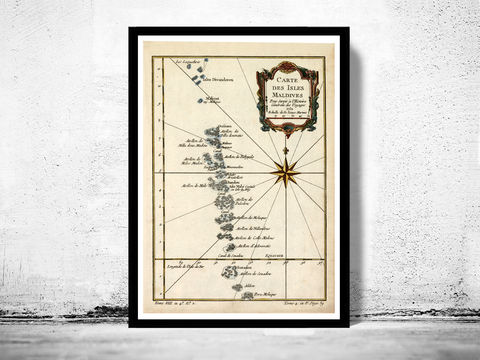 Old,Map,of,Maldives,Islands,1750,map of maldives, maldives, maldives map, maldives islands, maldives poster, athens poster, antique print, antique map