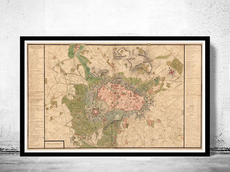 Old Map of Lille France 1717 - product image