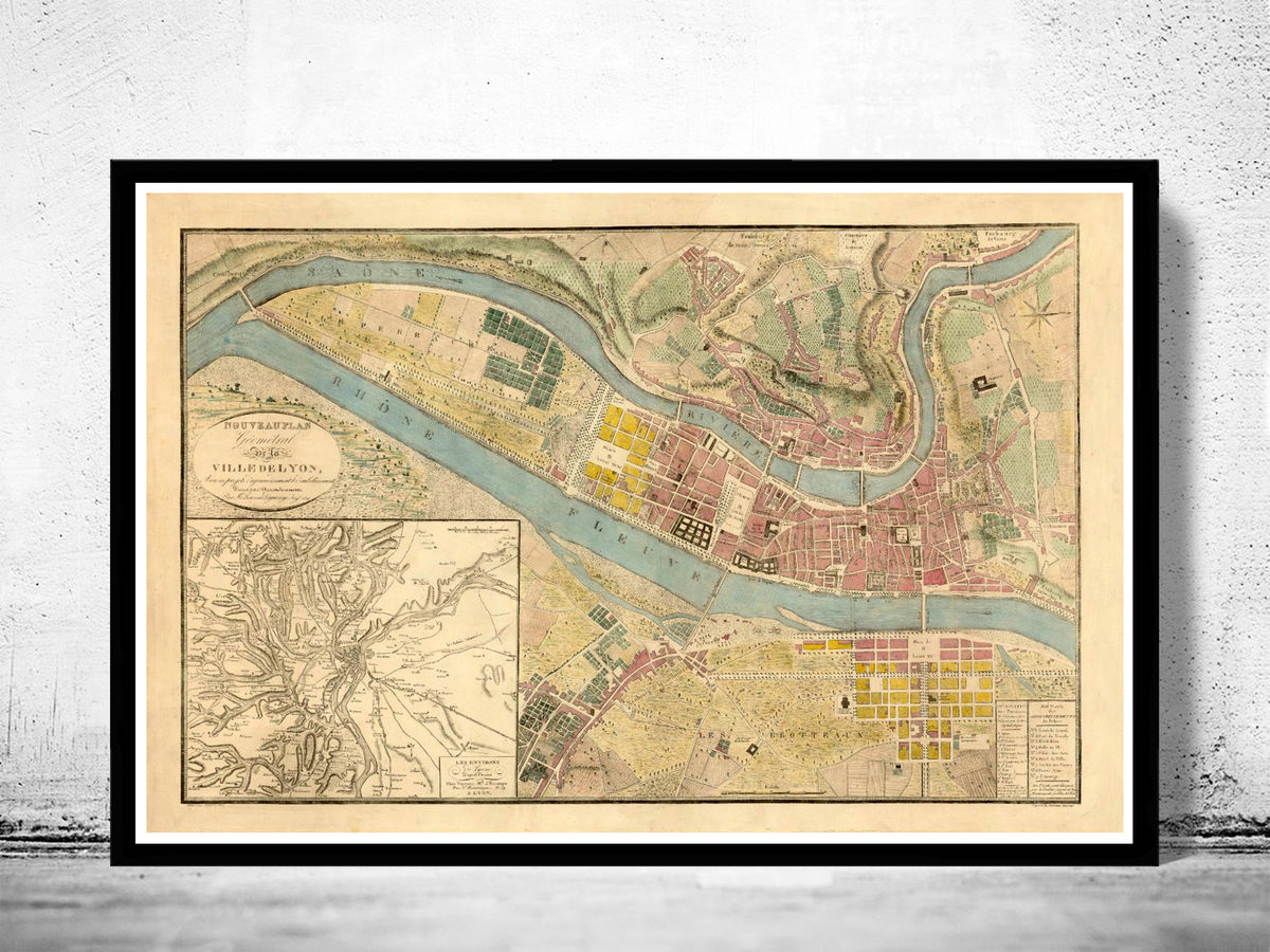Old Map of Lyon France 1821 - product images  of