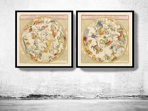 Old,Planisphere,celeste,meridional,and,septentrional,1775,Art,Reproduction,Open_Edition,vintage_map,globe,antique_map,celestial_map,planisphere_celeste,astronomical_map,astronomy_antique,Zodiac_Night_Sky