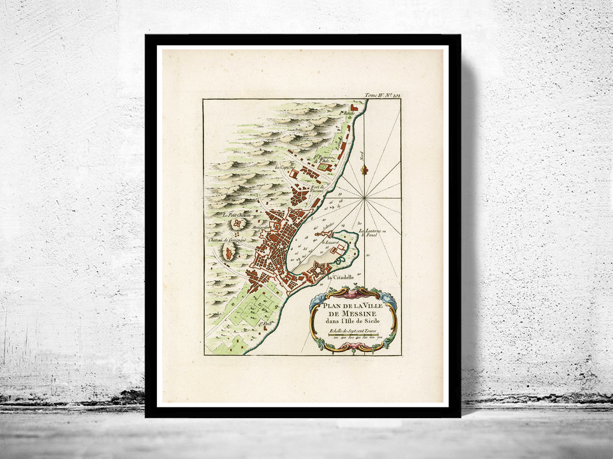 Old Map of Messina 1764 Sicily Italy - product images  of