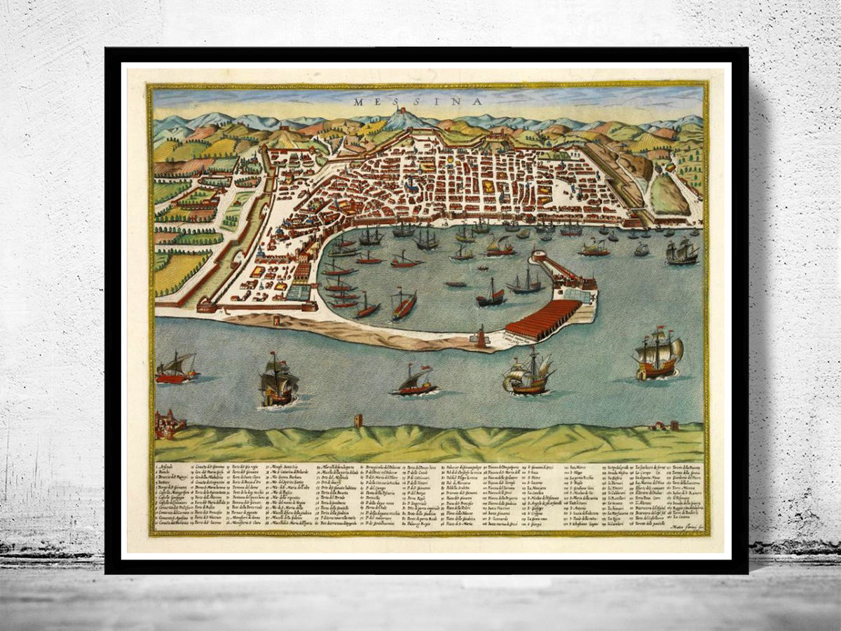 Old Map of Messina 1590 Vintage Map of Messina Italy - product images  of
