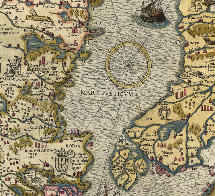 Old Map of Norway Sweden Scandinavia Antique Norwegen 1572 Antony Lafreri - product image
