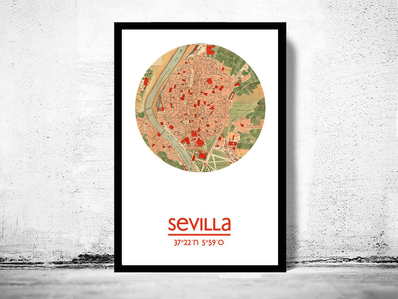 SEVILLA - city poster - city map poster print - product image