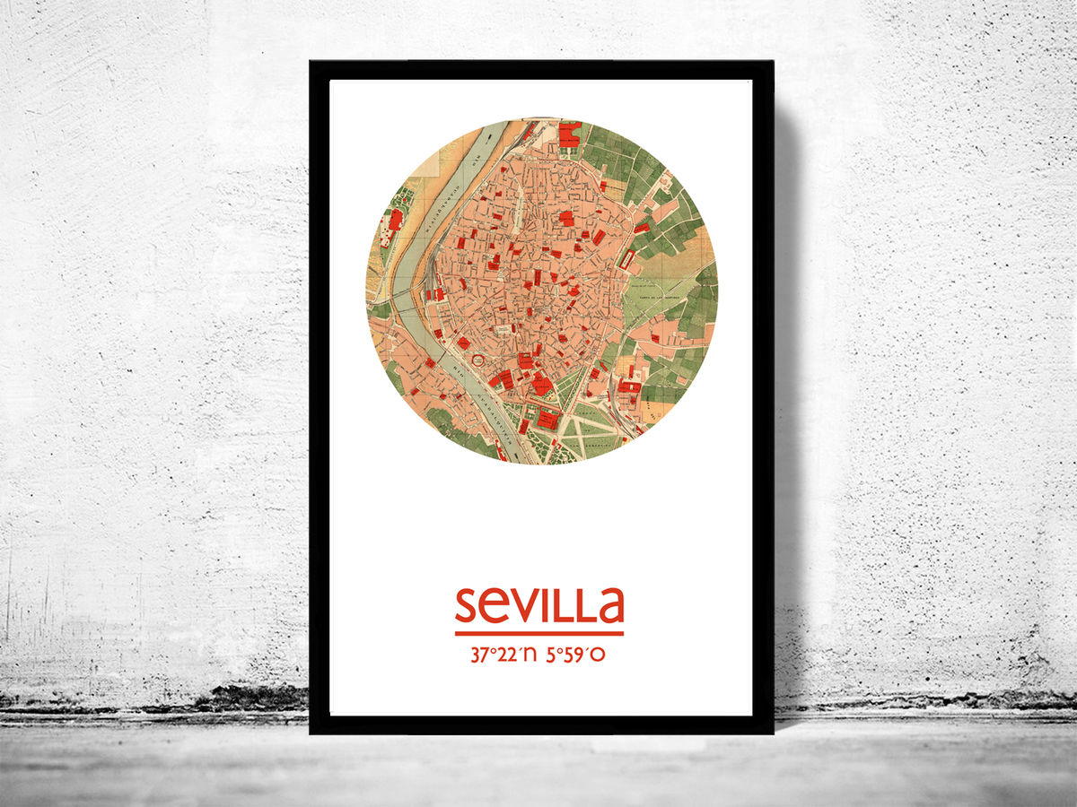SEVILLA - city poster - city map poster print - product images  of