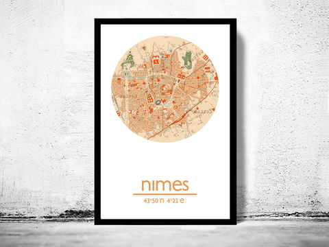 NIMES,-,city,poster,map,print, NIMES print, NIMES poster, NIMES Poster, french art, NIMES city, NIMES map, wall decor, city,maps, travel poster