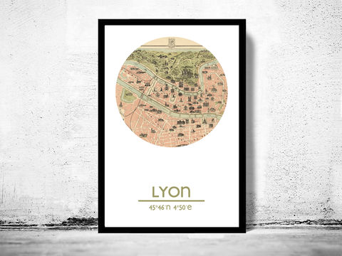 LYON,-,city,poster,map,print, LYON print, LYON poster, LYON Poster, french art, LYON city, LYON map, wall decor, city,maps, travel poster