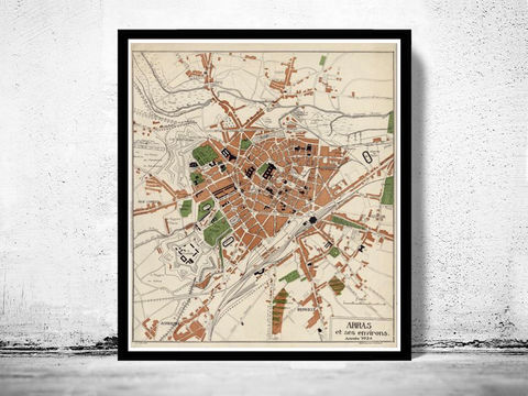 Old,Map,of,Arras,France,1924,arras france, mappe of arras, arras map , map of arras, arras poster, antique arras