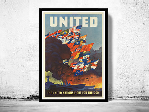 Vintage,War,Poster,United,Nations,for,Freedom,1942,Art,Reproduction,Open_Edition,vintage_poster,travel_poster,wall_decor,advertise_poster,oldcityprints,recruitment,world_war_poster,WWII,london,war_poster,american_war,war_propaganda,retro_war_poster