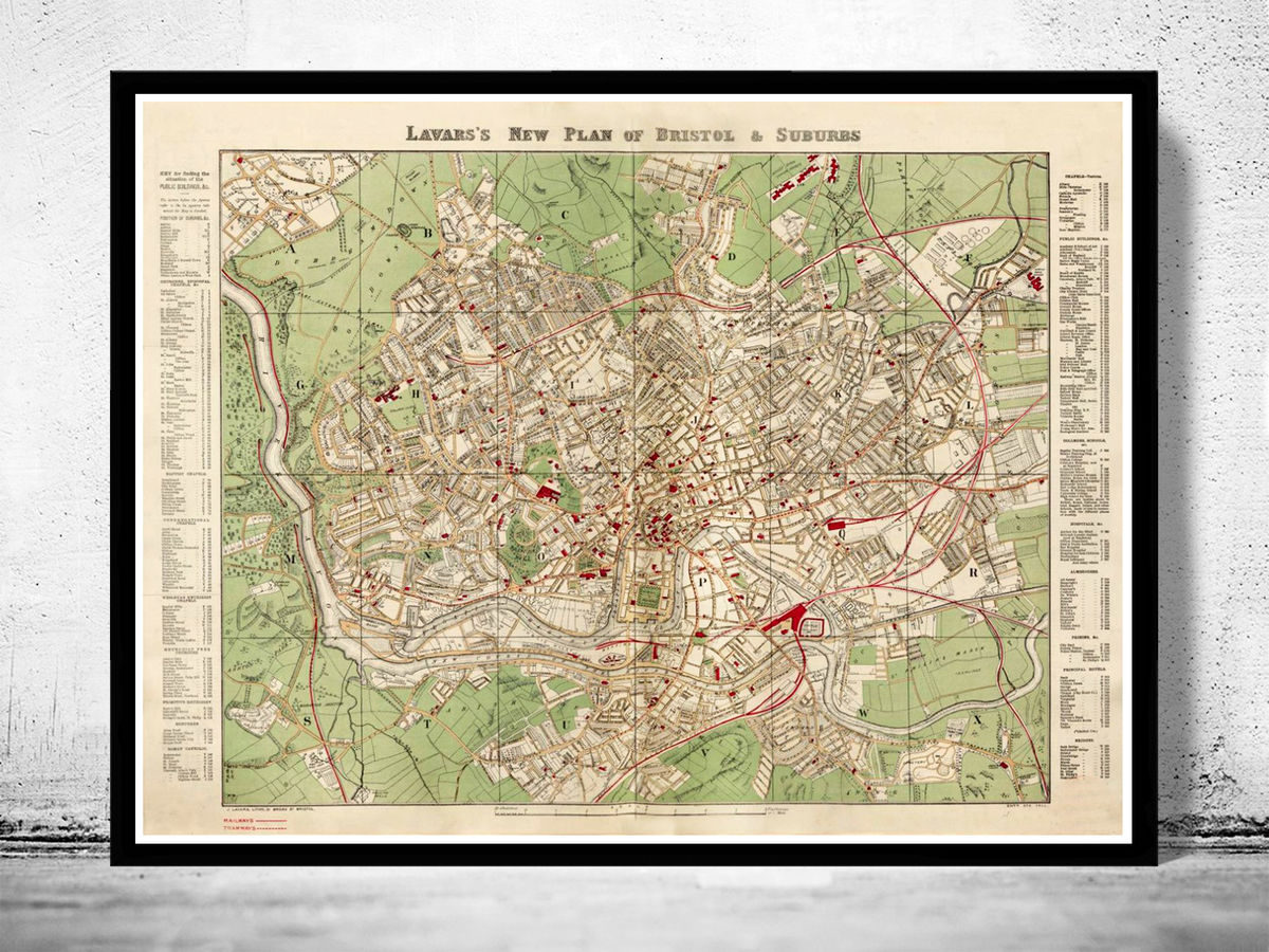 Old Map of Bristol United Kingdom 1890 - product images  of