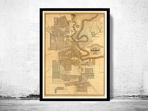 Old,map,of,Beaumont,1902,Texas,panoramic view  , birdseye , vintage map  , old map  , beaumont poster, beaumont, beaumont texas, beaumont map, map of beaumont, beaumont vintage, dallas gift, old map of beaumont