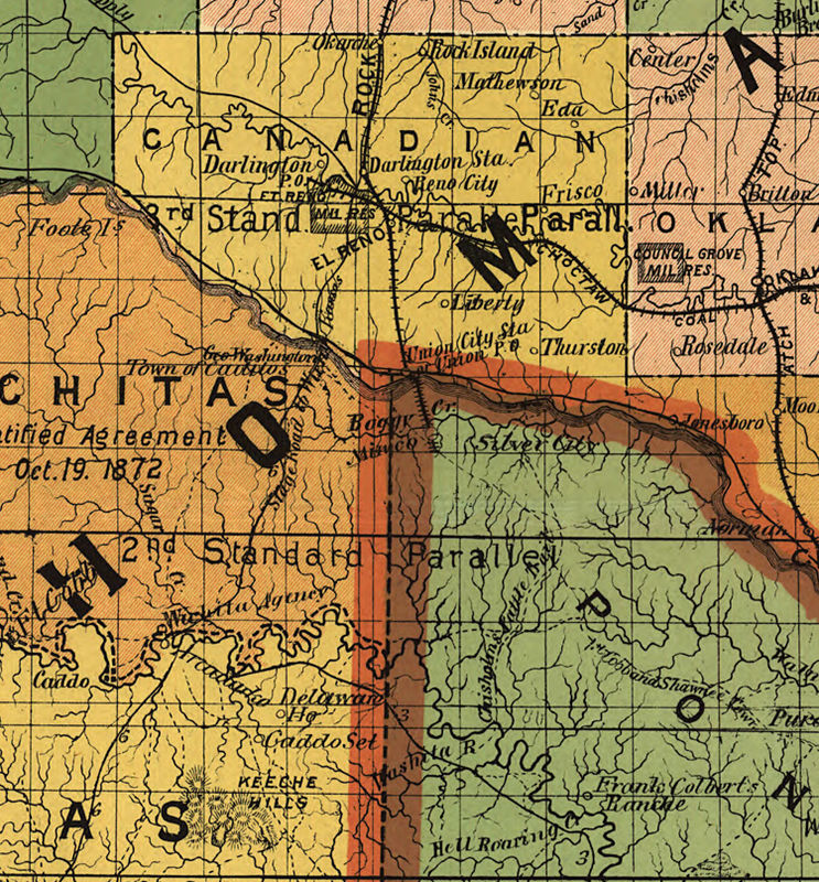 Old Map of Oklahoma Indian Territory 1892 - product image