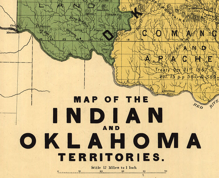 Old Map of Oklahoma Indian Territory 1892 - product images  of