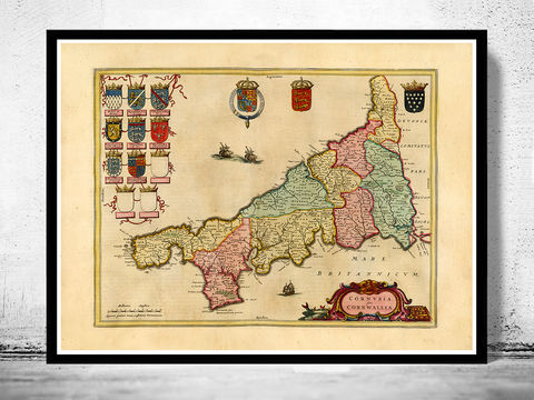 Old,Map,of,Cornwall,1665,England,Art,Reproduction,Open_Edition,cornwall, cornwall uk, cornwall map, map of cornwall, cornwall poster, map, old map, maps and prints