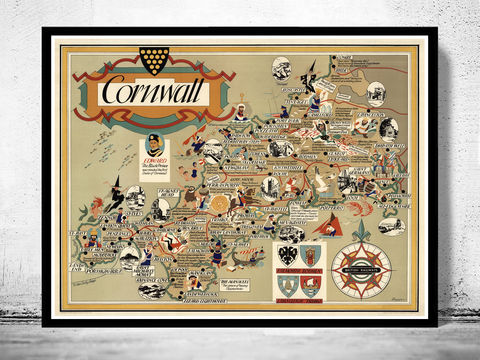 Old,Map,of,Cornwall,England,Art,Reproduction,Open_Edition,cornwall, cornwall uk, cornwall map, map of cornwall, cornwall poster, map, old map, maps and prints