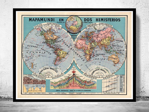 Old,World,Map,1929,Two,Hemispheres,Art,Reproduction,Open_Edition,World_map,old_map,antique,atlas,discoveries,explorations,vintage_poster,earth_atlas,map_of_the_world,world_map_poster,old_world,vintage_world_map,mercator_projection