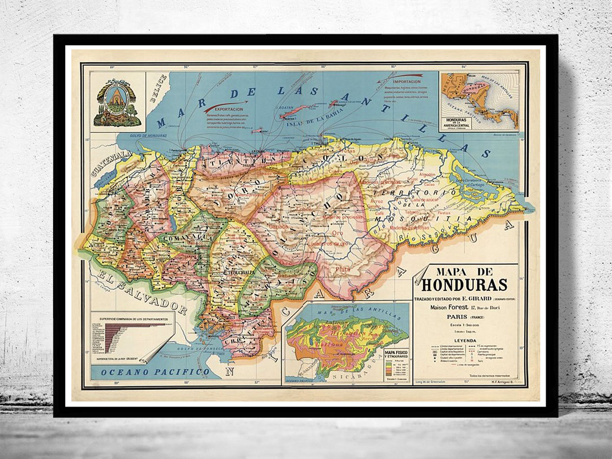 Old Map of Honduras 1929 Vintage Map of Honduras - product images  of