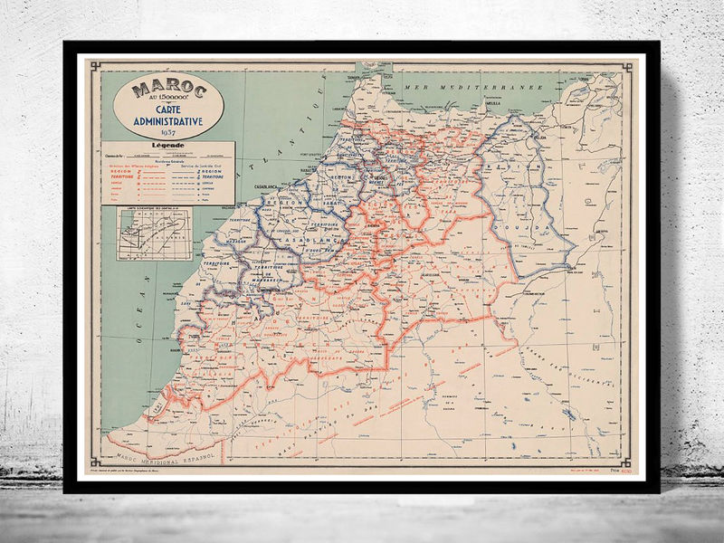 Old Map of  Morocco Le Maroc 1937 - product image