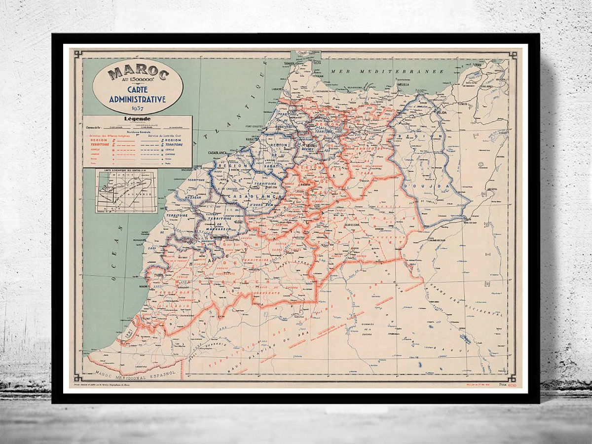 Old Map of  Morocco Le Maroc 1937 - product images  of