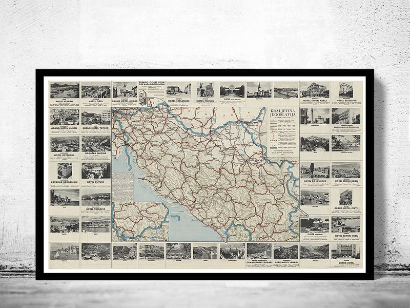 Old Map of Yugoslavia 1933 - product image