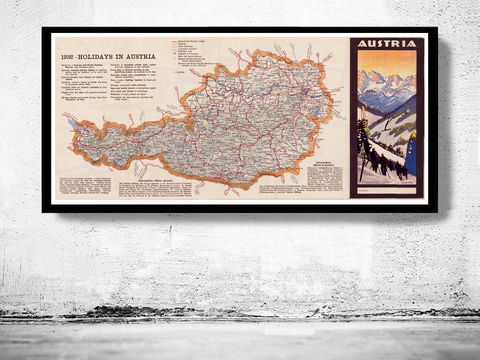 Old,Map,of,Austria,1932,travel poster, zell am see austria, austria map, austria osterreich, austria travel poster, austria old map,map of austria