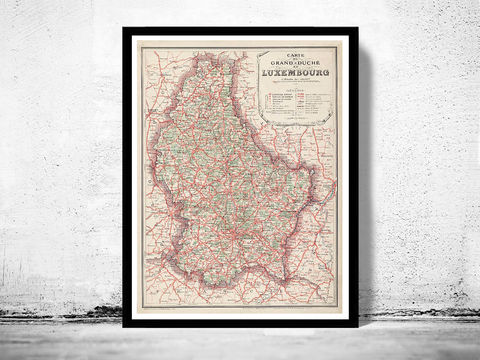 Old,Map,of,Luxemburg,Luxembourg,1929,luxembourg, luxemburg, luxemburg map, luxemburg poster, map of luxemburg, luxemburg grand duche