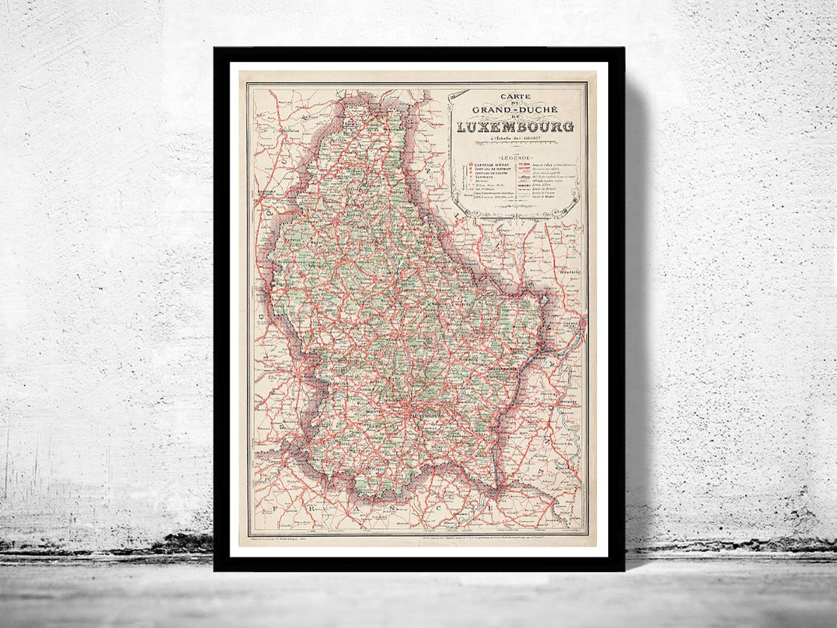 Old Map of Luxemburg Luxembourg 1929 - product images  of