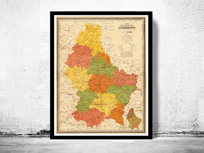 Old Map of Luxemburg Luxembourg 1886 - product image