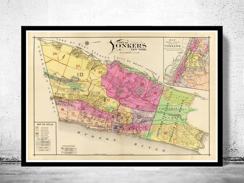 Vintage Map of Yonkers New York 1907 - product image