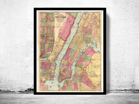 Old,Map,of,New,York,and,Manhattan,1860,, Manhattan  , new york  , old map , vintage map  × new york map  × manhattan map × antique map  × new york poster  , manhattan poster , brooklyn vintage  , brooklyn map  , ny map, new york poster, ny poster, map of new york, new york map
