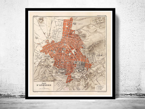 Old,Map,of,Athens,Greece,1880,Vintage,athens, map of athens, athens greece, greece map, greek art, athens poster, antique print, antique map