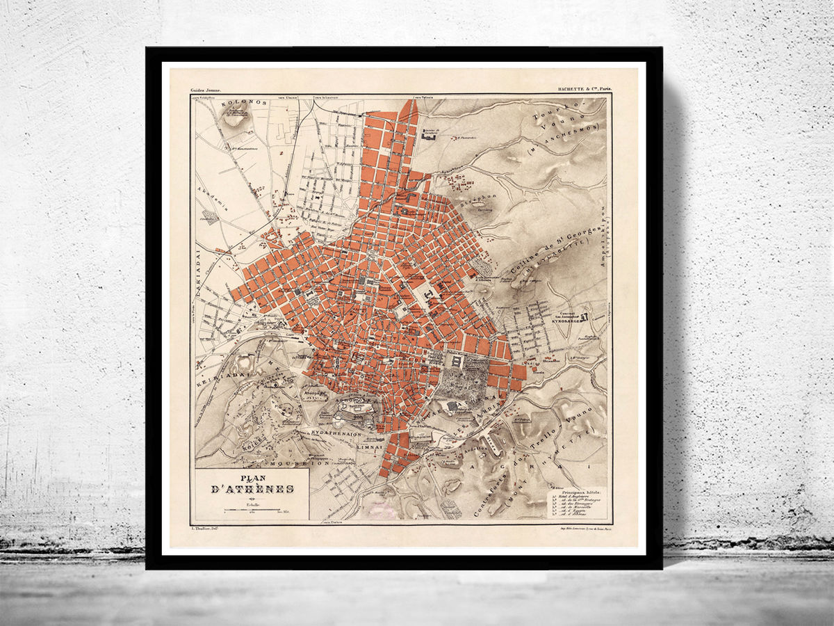 Old Map of Athens Greece 1880 - product images  of