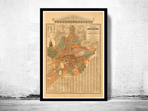 Old,Map,of,Athens,Greece,1923,athens, map of athens, athens greece, greece map, greek art, athens poster, antique print, antique map