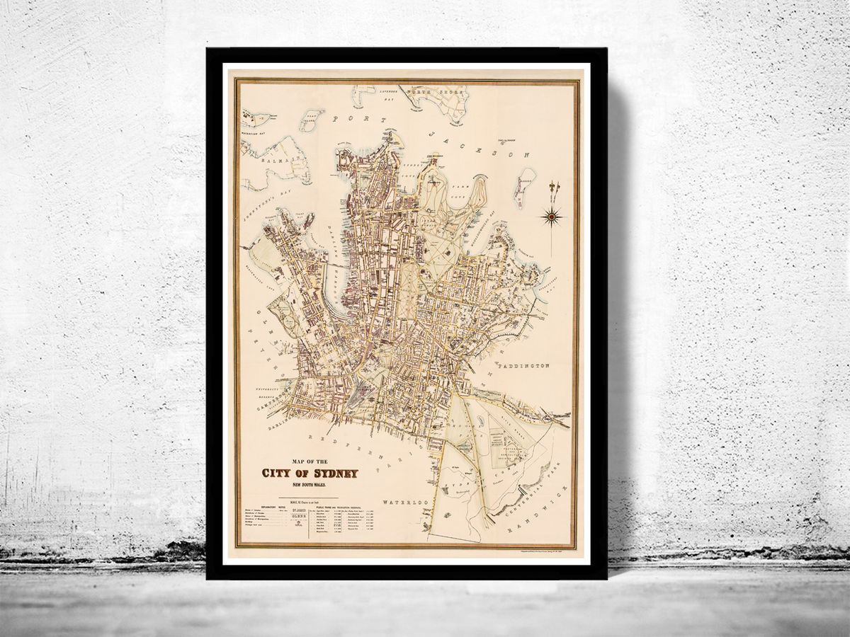 Map of Sydney New South Wales Vintage restoration hardware home Deco Style old wall reproduction map print. 1888 Australia