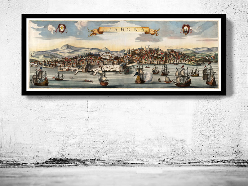 Old Map of Lisbon 1670 Lisboa Portugal  - product image
