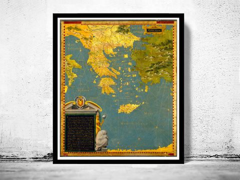 Old,Map,of,Greece,1585,Vintage,map,athens, map of greece, athens greece, greece map, greek art, greece poster, antique print, antique map