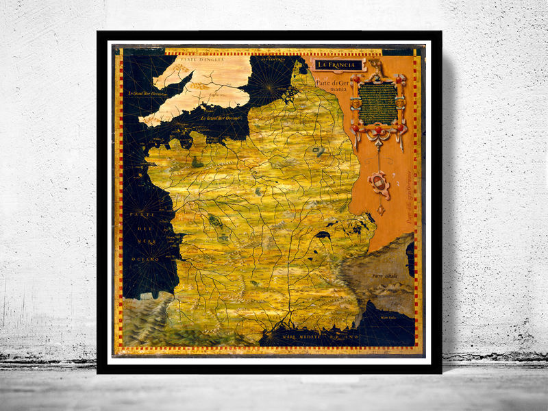 Old Map of France 1576 Antique map of France - product image