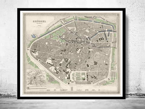 Old,Vintage,Map,of,Brussels,Bruxelles,,Belgium,1860,Art,Reproduction,Open_Edition,map,old,city,vintage,plan,illustration,panoramic_view,antique,brussels,bruxelles,belgium,gravures,vintage_map