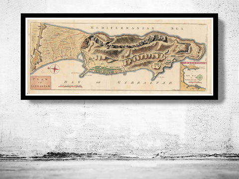 Old,Map,of,Gibraltar,Spain,1726,Vintage,Art,Reproduction,Open_Edition,Vintage_map,espana,gibraltar,iberia,old_map_spain,spain_map,hispania,spain_vintage_map,vintage_spain,madrid_map, map of spain, spain map, , vintage map, antique map, gibraltar map, old map of gibraltar, gibraltar poster
