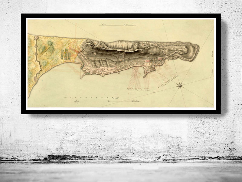 Old Map of Gibraltar Spain 1800 - product image