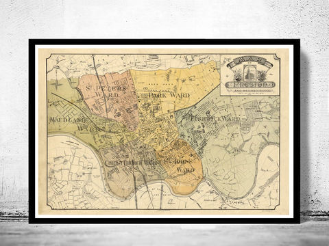 Old,Preston,Map,1890,,England,United,Kingdom,preston, preston map, preston england, map of preston, preston poster