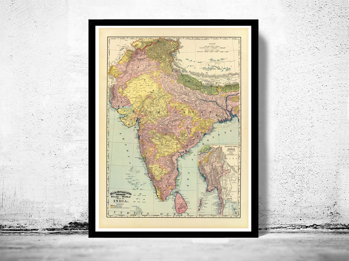 Old Map of India 1897 Asia Vintage Map - product images  of