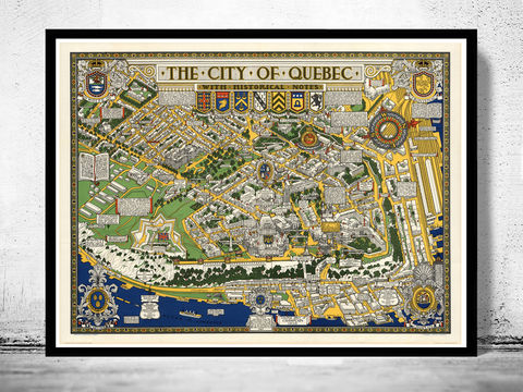 Old,Map,of,Quebec,City,,Canada,Pictorial,quebec canada, old map of quebec, quebec vintage, old maps for sale, maps reproductions, quebec, quebec city , map of quebec, quebec map, quebec poster, old quebec, map reproductions