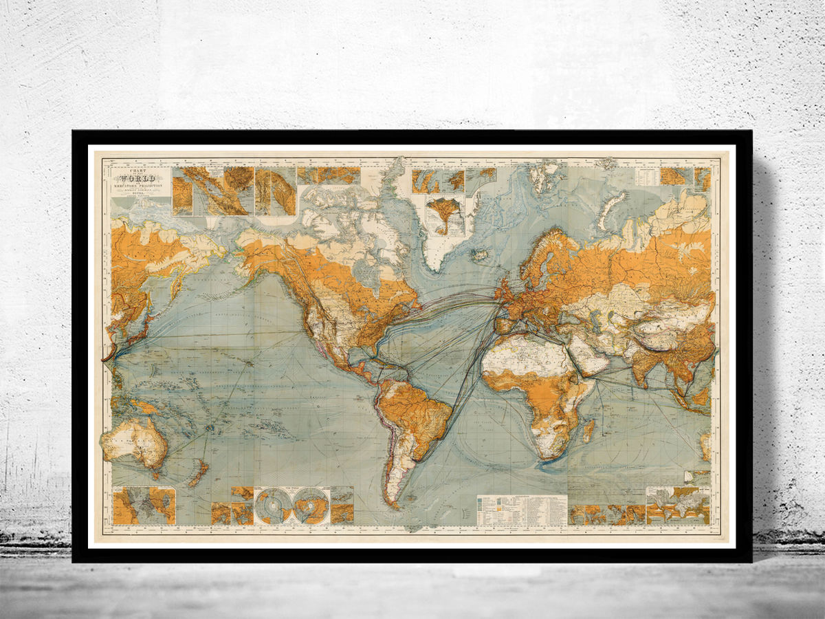 Great Vintage World Map in 1875 - product images  of