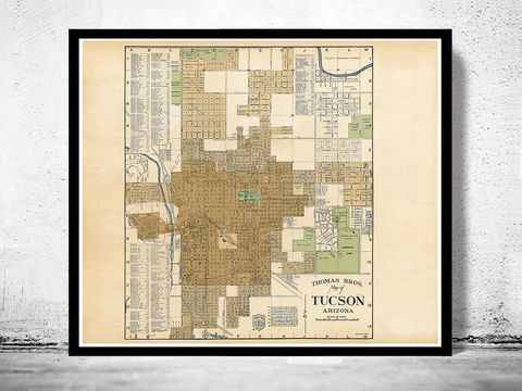 Old,map,of,Tucson,Arizona,panoramic view  , birdseye , vintage map  , old map  , tucson poster, tucson, tucson arizona, tucson map, map of tucson, tucson vintage, tucson gift, old map of tucson