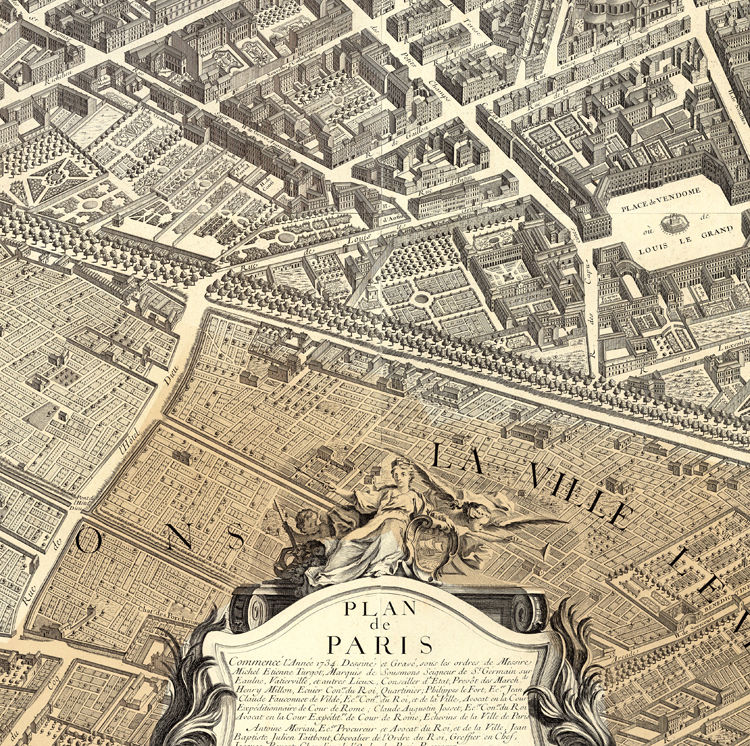 Old Map of Paris Turgot Map 1739 (four plates) - product image