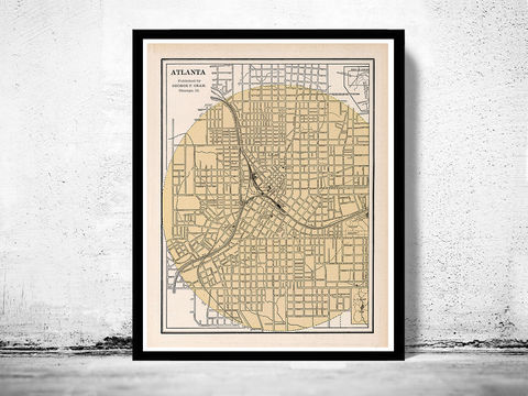Atlanta,old,map,1901,atlanta city, atlanta poster, atlanta map, map of atlanta, atlanta decor, vintage atlanta
