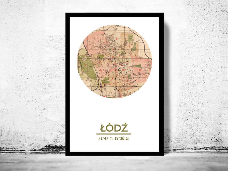 LODZ - city poster - city map poster print - product image