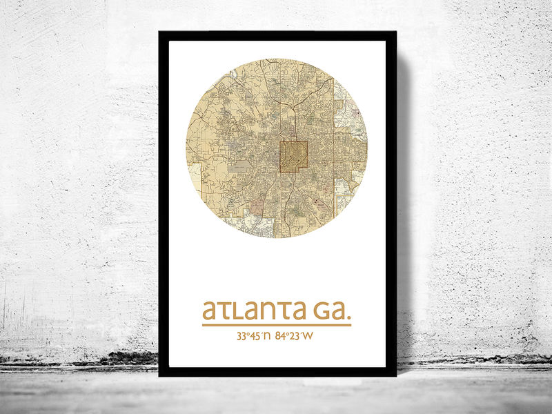 ATLANTA GA - city poster - city map poster print - product image